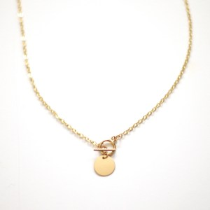 Collier or 18 K T-bar medaillon