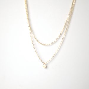 collier double or 18k petit medaillon