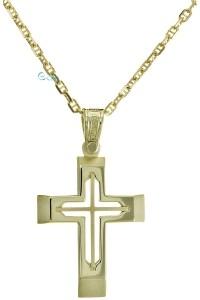 TRIANTOS Βαπτιστικός Σταυρός Χρυσός 14 Καράτια