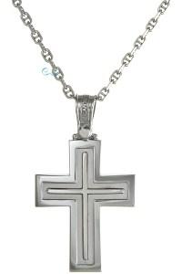TRIANTOS Βαπτιστικός Σταυρός Λευκόχρυσος 14 Καράτια