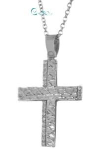 Βαπτιστικός Σταυρός Λευκόχρυσος 14 Καράτια