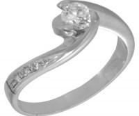 Μονόπετρο Δαχτυλίδι Λευκόχρυσο 14 καράτια