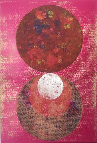 Apostrophe, 2019, Linoldruck auf Digitaldruck, 46 x 32 cm