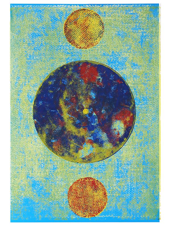 Ascendent, 2019, Linoldruck auf Digitaldruck, 45 x 29,7 cm