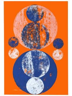 Ausmittelung, 2019, Linoldruck auf Digitaldruck, 46 x 32 cm