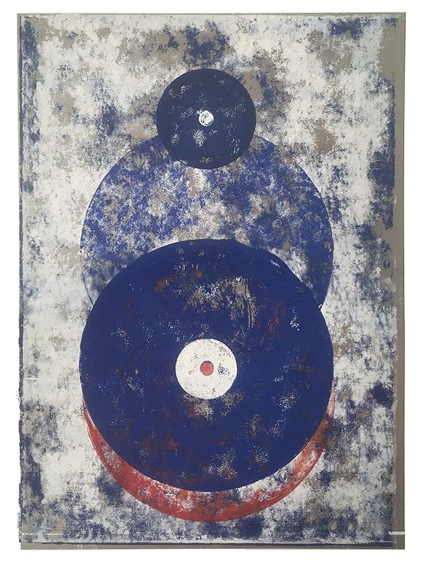 Rotverschiebung, 2019, Linoldruck, 45 x 31,5 cm