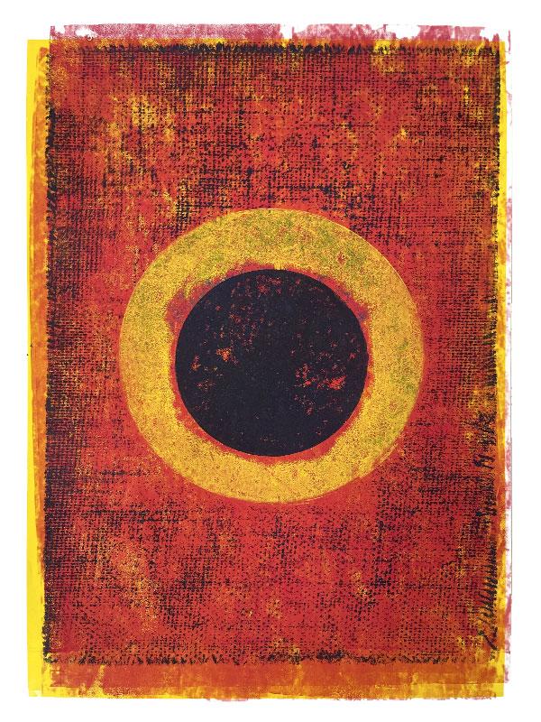 Sol obscuratus, 2020, Linoldruck auf Digitaldruck, 46 x 32 cm