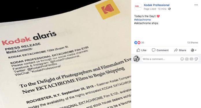 Kodak's E100 Ektachrome has begun shipping - Kosmo Foto