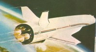 Britský raketoplán Hotol. Štartovať mal na rozjazdovom vozíku. Tento projekt pokračuje doteraz ako Skylon.