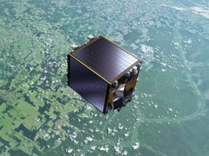 Umělecká představa družice Proba-V na oběžné dráze