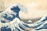 Velká vlna, další z ranných pokusů o zvěčnění turbulencí, Katsushika Hokusai
