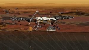 Umělecká představa landeru InSight na Marsu.