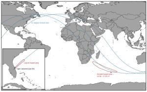 Predštartovné odhady dráhy zo zverejnených varovaní pre dopadové oblasti stupňov rakety Falcon-9