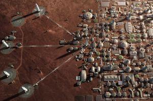 Kolonie na Marsu v představě malíře