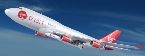Vizualizace letounu Cosmic Girl se zavěšenou raketou LauncherOne.