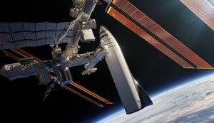 Představa lodi BFS u stanice ISS.