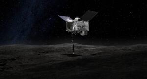 Vizualizace odběru materiálu sondou OSIRIS-REx.