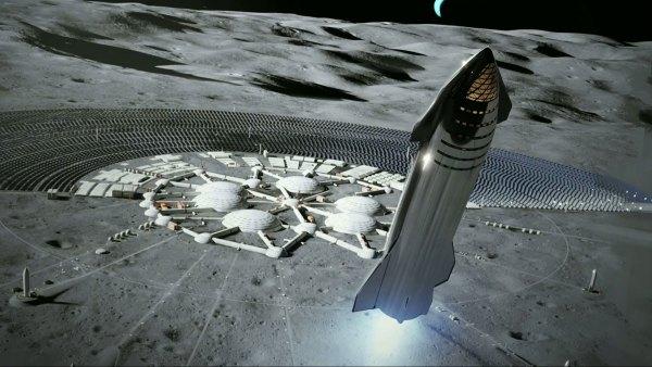 Vizualizace Starship přistávající u lunární základny.