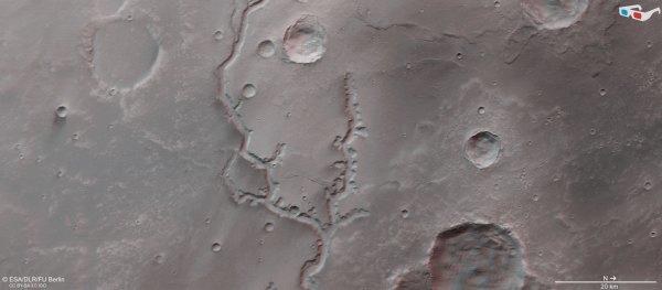 3D pohled na oblast Nirgal Vallis.