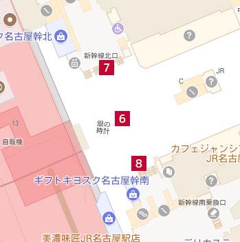 銀の時計、新幹線口北口、南口の場所