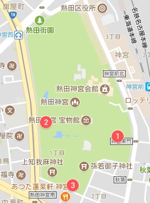 熱田神宮の専用駐車場マップ01