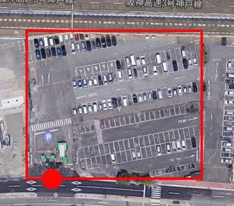 上から見た市営メリケンパーク駐車場