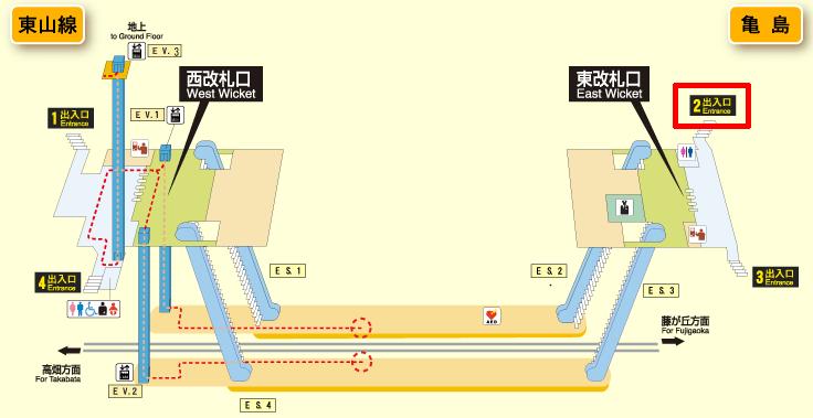 亀島駅の構内図
