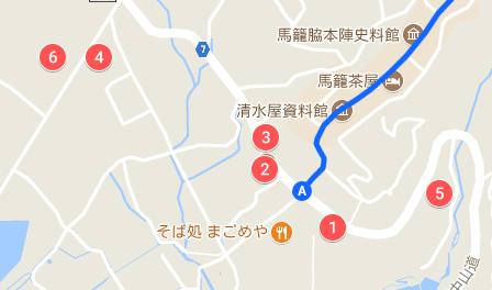 下入口付近の無料駐車場に関するマップ