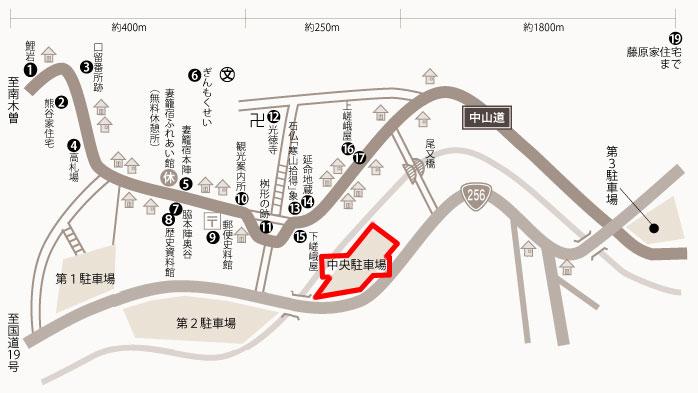 中央駐車場の地図