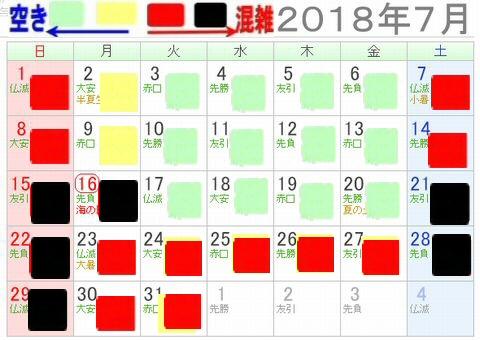 ナガスパプール2018年7月混雑予想カレンダー(後半は夏休み)