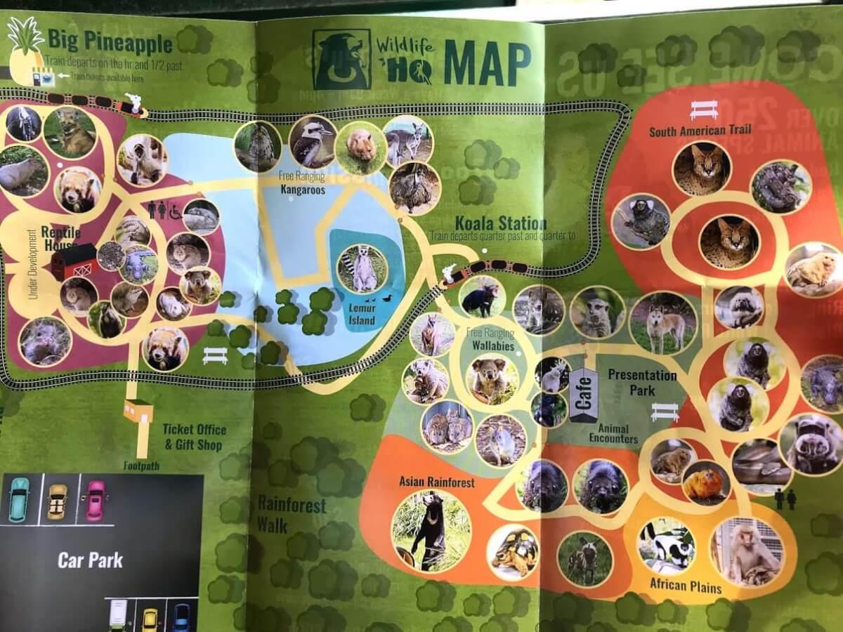 サンシャインコーストの動物園『WILDLIFE HQ』の園内マップの画像