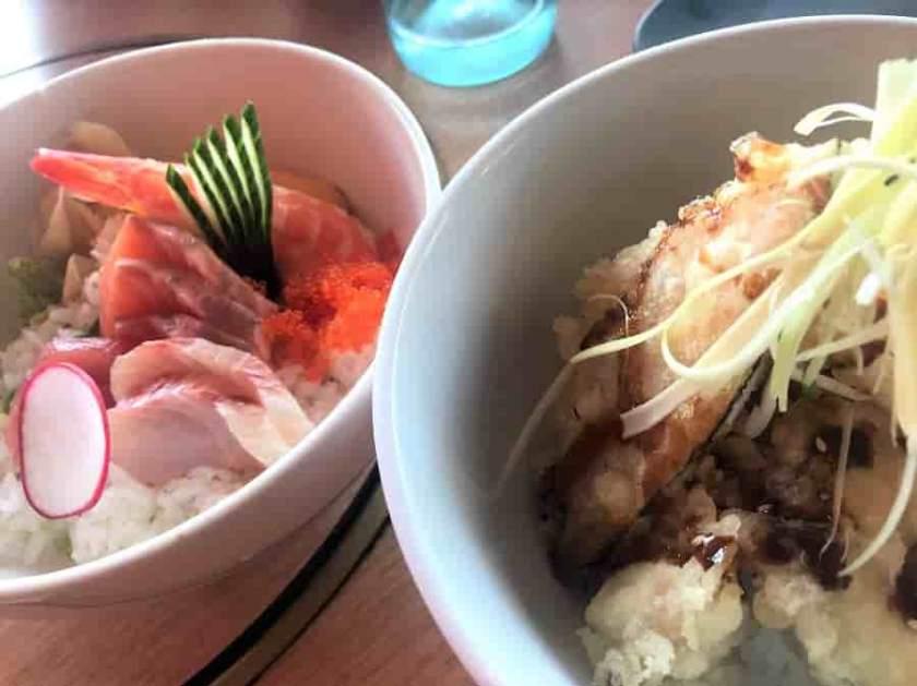 sakana で食べたランチのちらし寿司と天丼