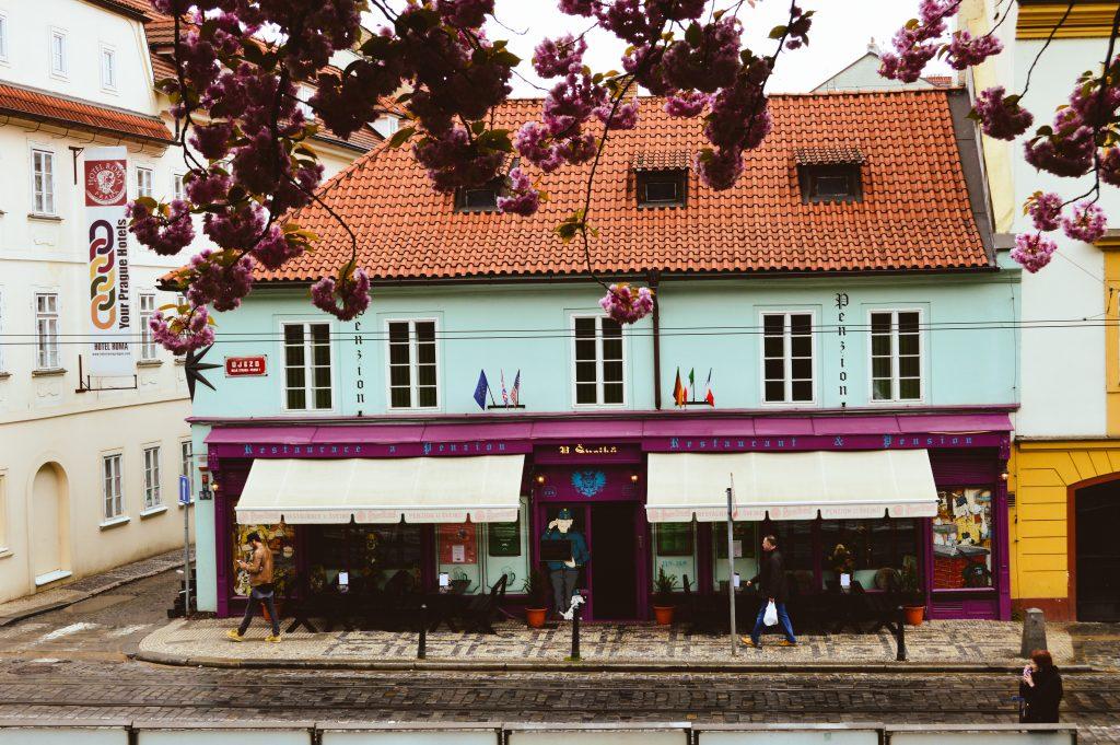 Lovely, colourful Prague cafe