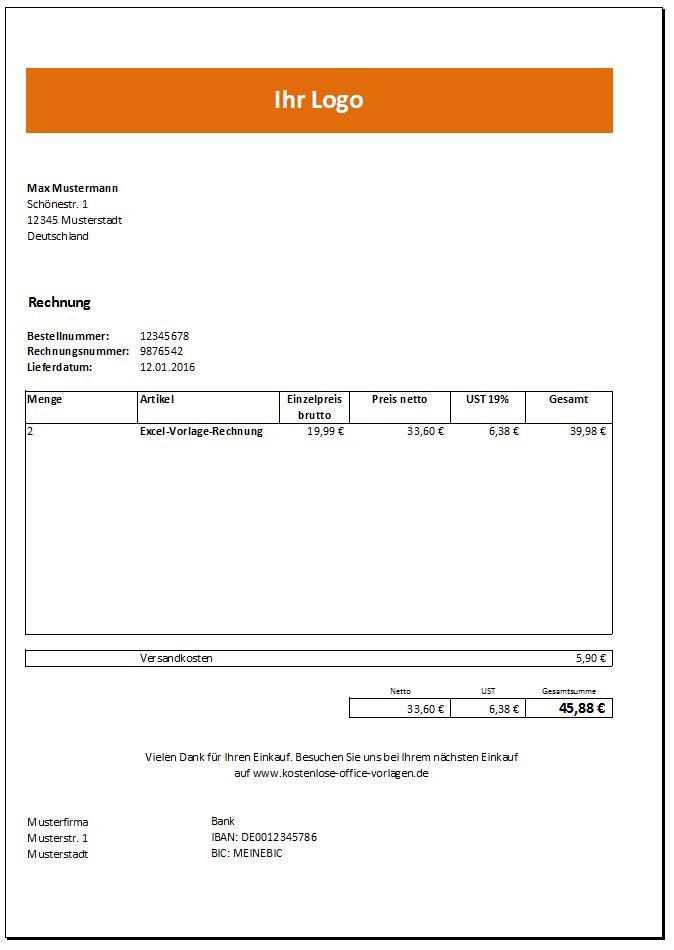 Rechnung Vorlage Excel