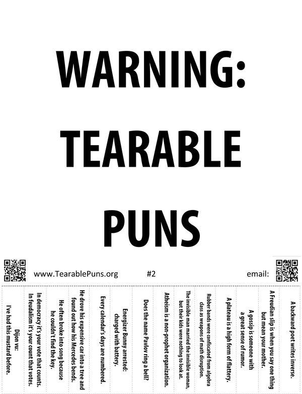 Tearable Puns Poster #2: Warning! Tearable Puns