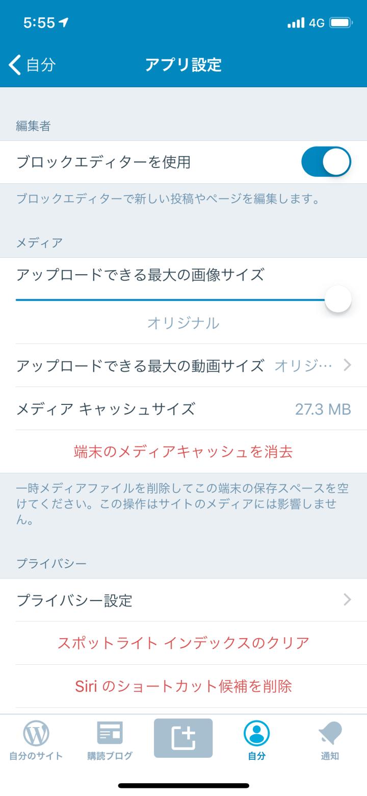 WordPressアプリブロックエディター設定