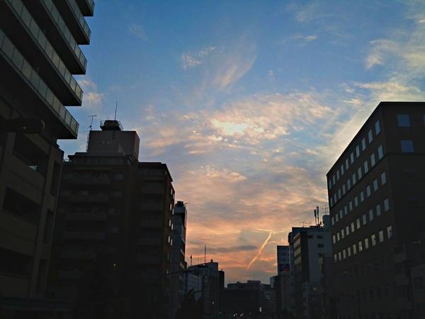 新富町の夕焼け空 HDR撮影