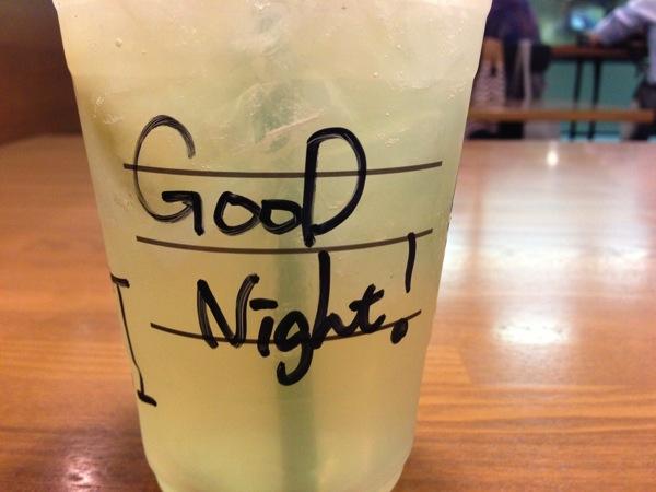スタバカップメッセージGood Night!