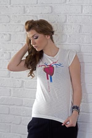 """koszulka melanżowa z nadrukiem z kolekcji koszulek dla PAR - """"Przez żołądek do serca"""""""