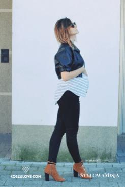 Czarna ramoneska i czarne legginsy dla rockowej mamy :)