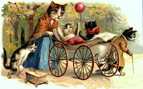 винтажная открытка с котятами