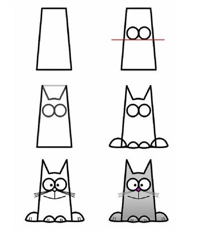 быстро нарисовать кота