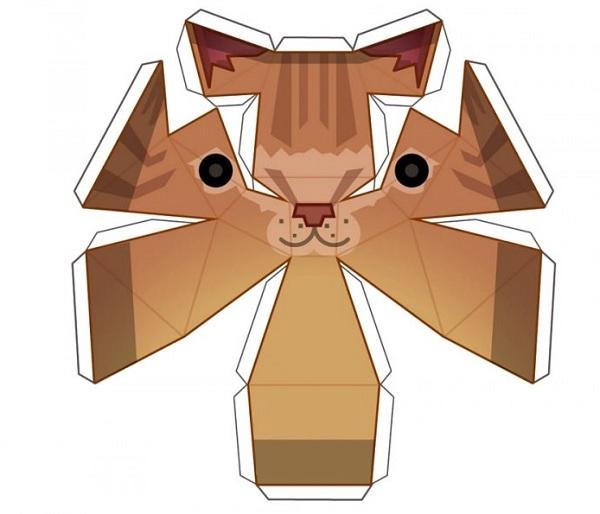 мордочка кота из бумаги