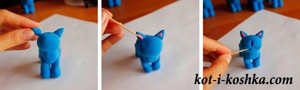 сделать кота из пластилина
