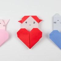 Оригами Котенок с сердцем