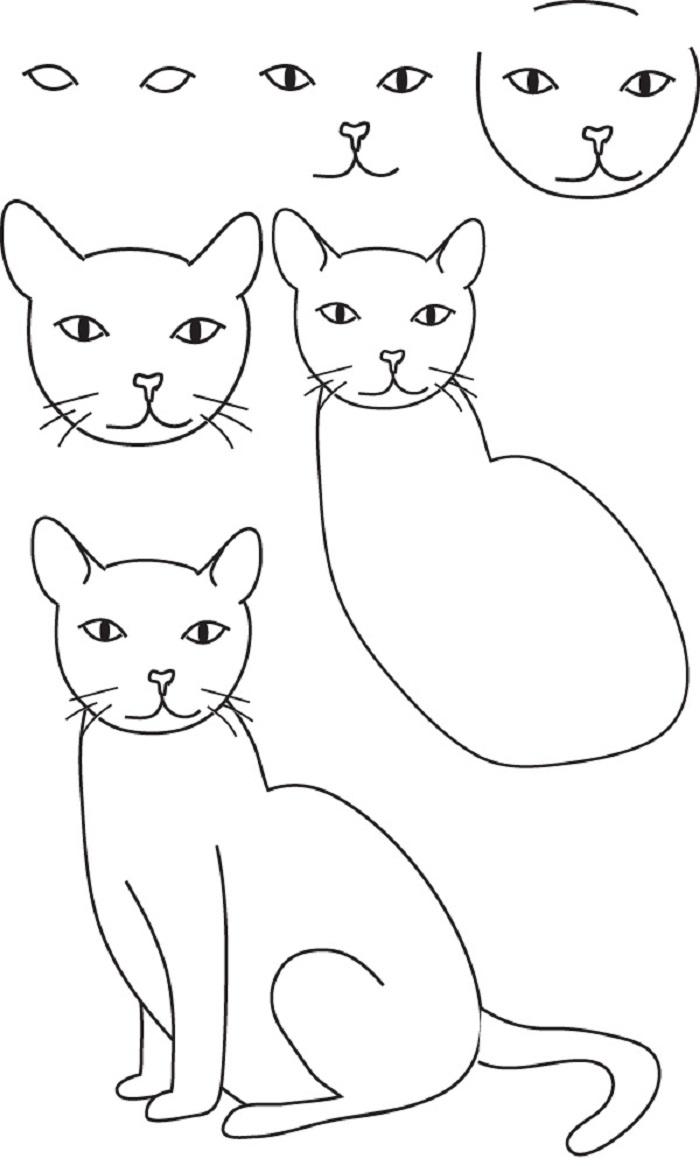 Легкие рисунки кошек самые легкие по шагам