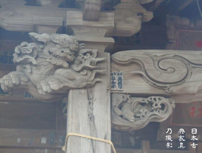 十二所神社 本殿の獅子の彫刻