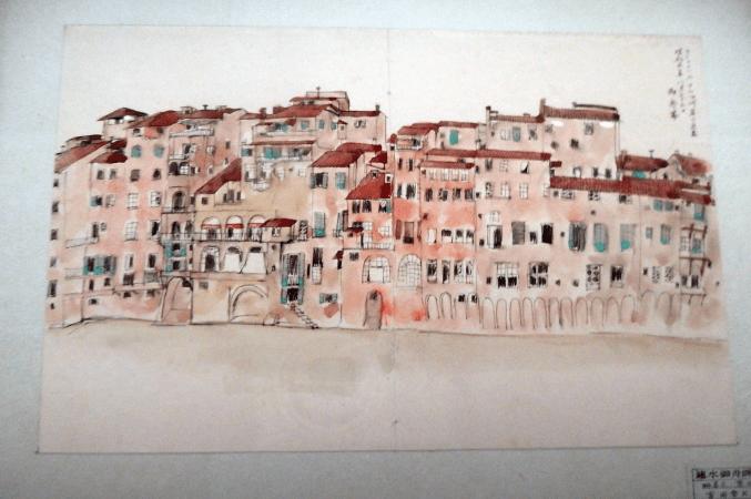 速水御舟 「フィレンツェ アルノ川の家並み」 写生