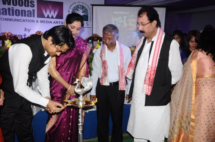 Kopil Bora, Dhrubajyoti Saikia, Mohibul Haque and others at the launch of Whistling Woods International