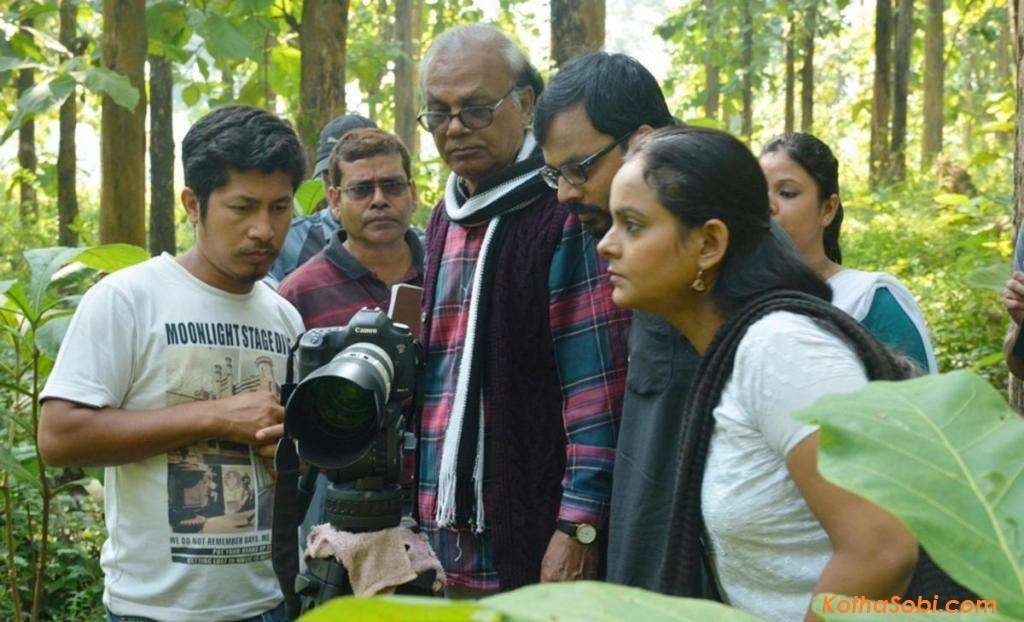 Dr Sitanath Lahkar during the shooting of his first full-length feature film 'Aei Maatite'